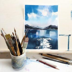 Бесплатные уроки рисования акварелью для начинающих. Как научиться рисовать. Как перестать бояться акварели и начать рисовать. Рисуем пейзаж. Приемы, которые раскрепощают и освобождают вашеговнутреннего художника.